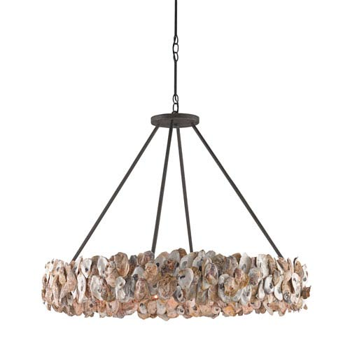 Currey Company Oyster Circle Textured Bronze Eight Light Pendant 9672 Bellacor