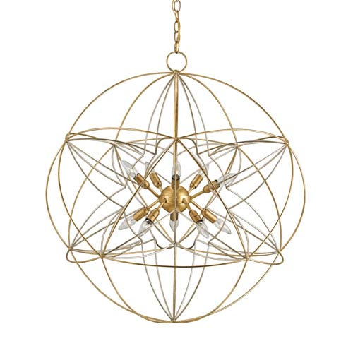 Zenda Contemporary Gold and Silver Leaf Ten-Light Globe Pendant