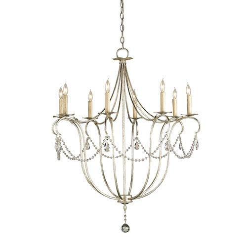 Currey & Company Crystal Lights Silver Leaf Eight-Light Large Chandelier