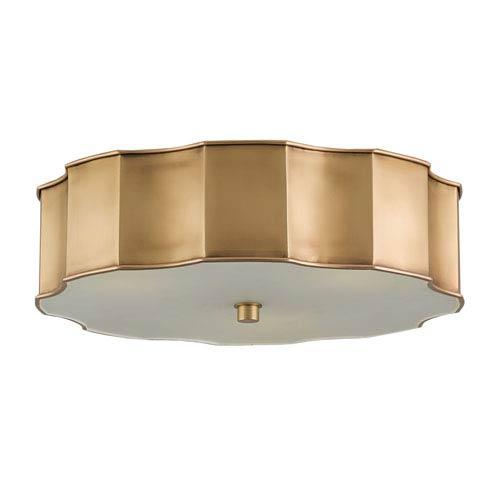Wexford Antique Brass Three-Light Flush Mount