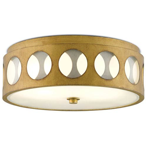 Go-Go Brass and White Opaque Glass Two-Light Fluorescent Flush Mount