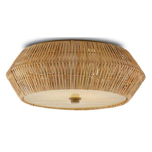 Antibes Natural and Honey Beige Two-Light Flush Mount
