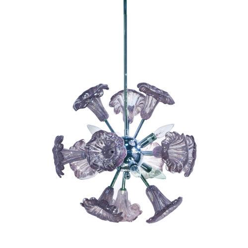 Yuri Polished Chrome and Gray Six-Light Art Glass Pendant