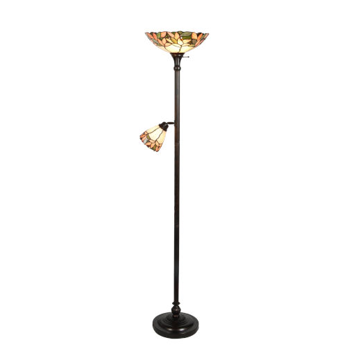 Springdale Antique Gold and Bronze Crystal Leaf Two-Light Tiffany Floor Lamp with Side Light