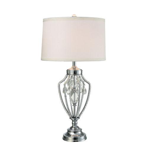 Tonya Polished Chrome and White LED Crystal Table Lamp