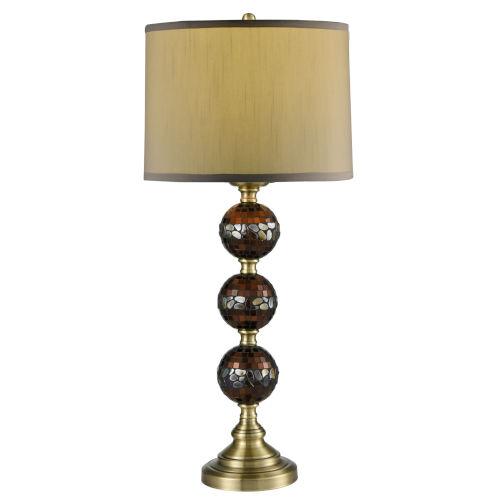 Springdale Dunford Antique Brass One-Light Mosaic Hand Blown Art Glass Table Lamp