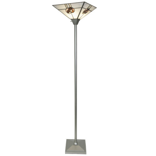 Mack Rose Silver Tiffany One-Light Torchiere Floor Lamp