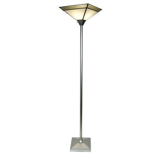 Springdale Silver Leonetto Fused Glass One-Light Torchiere Floor Lamp