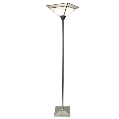 Silver Concord Fused Glass One-Light Torchiere Floor Lamp