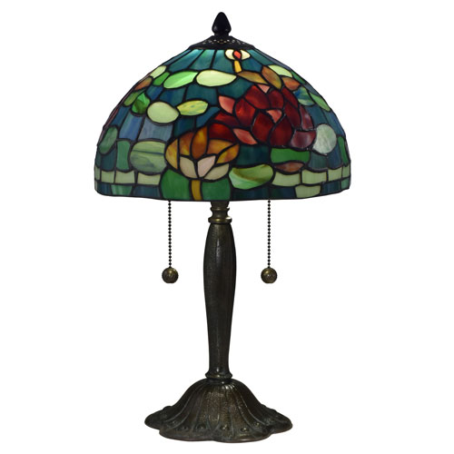 Antique Bronze and Verde Two-Light 12-Inch Table Lamp