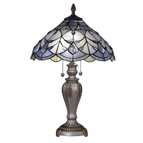 Antique Pewter and Gold Two-Light 16-Inch Table Lamp