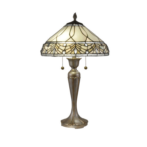 Antique Gold and Silver Sabine Jewel Two-Light Tiffany Table Lamp
