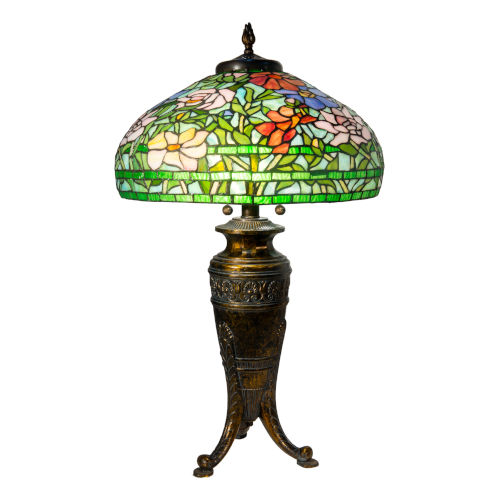 Antique Brass Astin Floral Two-Light Tiffany Table Lamp