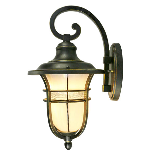 Golden Black One-Light 9-Inch Outdoor Wall Sconce