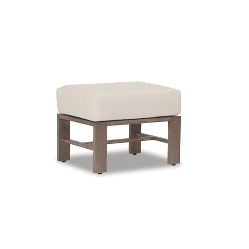 Laguna Ottoman with Cushions in Canvas Flax with Self Welt