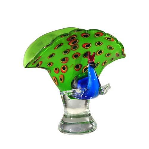 Dale Tiffany Peacock Glass 10.25-Inch Perfume Bottle Sculpture
