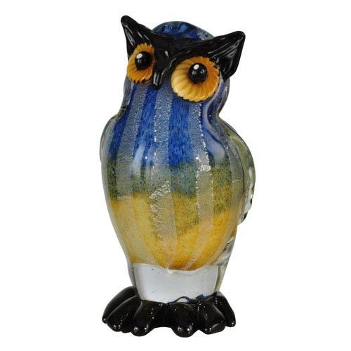 Hand Blown Art Glass 7-Inch Big Owl Sculpture