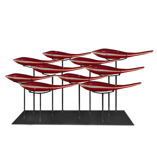 Dale Tiffany Black 32-Inch 10 Fish Red Sculpture