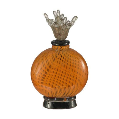 Hand Blown Art Glass 7-Inch Pumpkin Pie Perfume Bottle