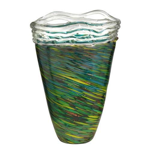 Hand Blown Art Glass 10-Inch Aquamarine Braided Vase