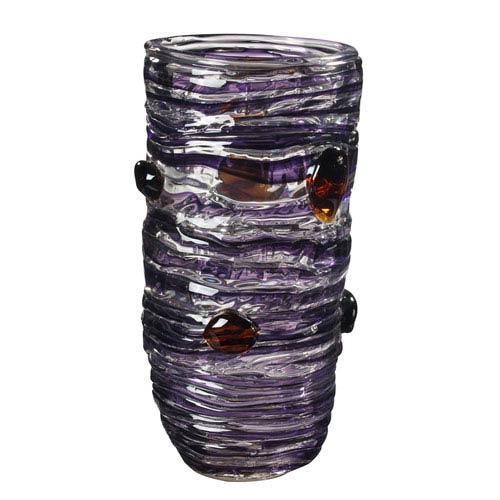 Hand Blown Art Glass 7-Inch Amethyst Vase