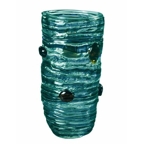 Hand Blown Art Glass 7-Inch Blue Vase