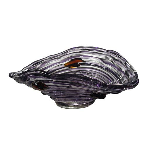 Hand Blown Art Glass 13-Inch Amethyst Bowl