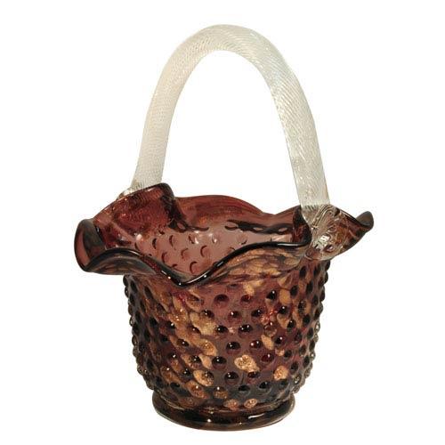 Hand Blown Art Glass 8-Inch Purple Basket Home Accent
