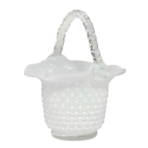Hand Blown Art Glass 8-Inch Clear Basket Home Accent