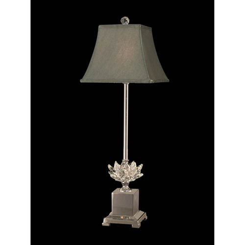 Polished Nickel 8-Inch One-Light Lucinda Crystal Buffet Lamp