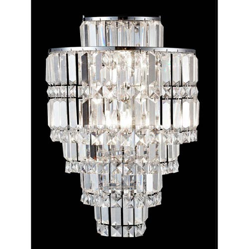 Polished Chrome 12-Inch Three-Light Cathedral Crystal Wall Sconce