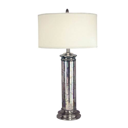Antique Pewter Silver Art Glass Table Lamp