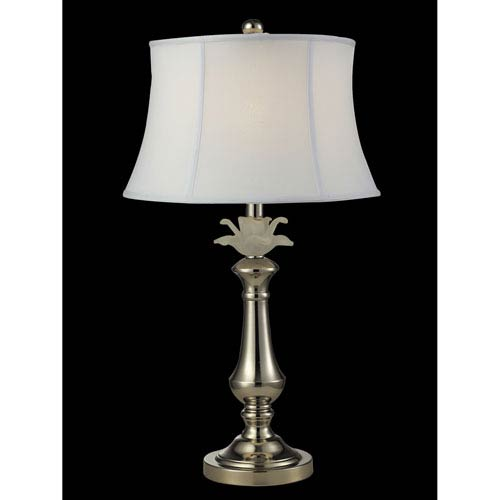 Polished Nickel 14-Inch One-Light White Flower Table Lamp