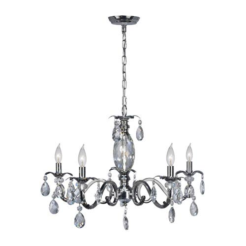 Clara Polished Chrome and Crystal Five-Light Chandelier