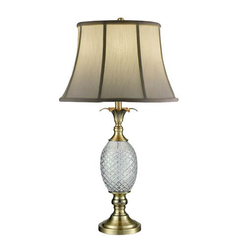 Antique Brass and Crystal Table Lamp