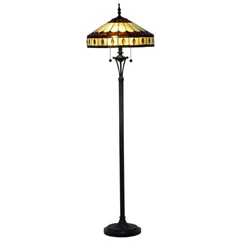 Julio Antique Bronze and Tiffany Two-Light Torchier Floor Lamp