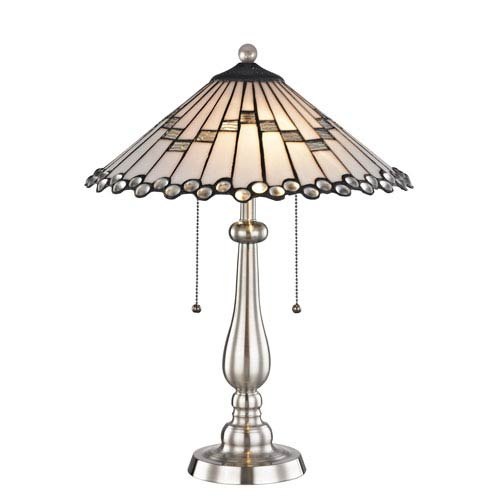 Jensen Brushed Nickel and Tiffany Two-Light Table Lamp