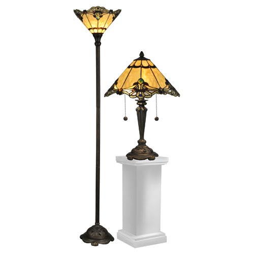 Brena Dark Antique Bronze Three Light Table and Floor Lamp Set