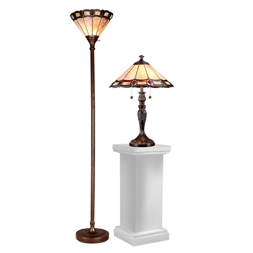 Bon Dale Tiffany Dark Antique Peacock Table And Three Light Torchire Floor Lamp  Set