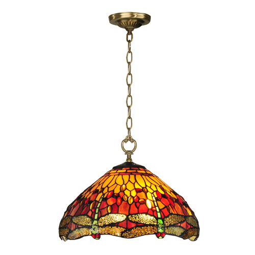 Dale Tiffany Reves Dragonfly Antique Brass 10.5-Inch Pendant