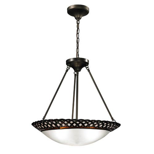 Dale Tiffany Hillcrest Inverted Dark Bronze Three Light 21.75-Inch Pendant