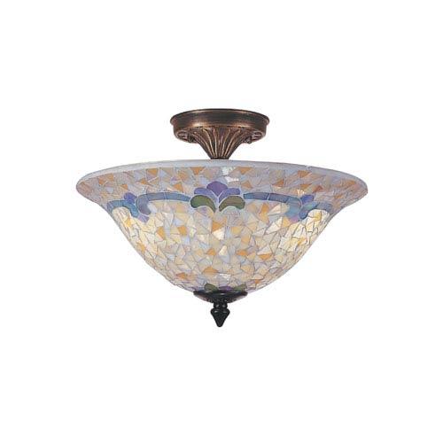 Tiffany Mosaic Semi-Flush Ceiling Light