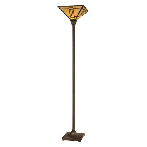 Mica Bronze Noir Mission Torchiere Floor Lamp