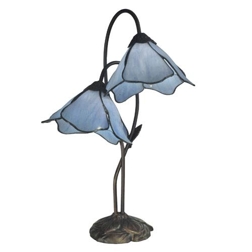 Dale Tiffany Poelking Dark Antique Bronze Two Light Blue Lily 21-Inch Table Lamp