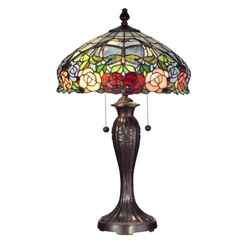 Dale Tiffany Zenia Rose Metal Two Light 27-Inch Table Lamp