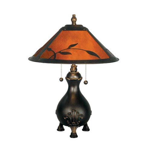 Dale Tiffany Antique Golden Sand Mica Leafs Table Lamp