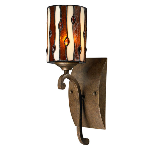 Dale Tiffany Diamond Hill Antique Golden Bronze 15-Inch Wall Sconce