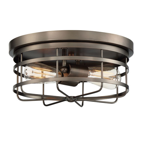 Anson Satin Copper Bronze Two-Light Flush Mount