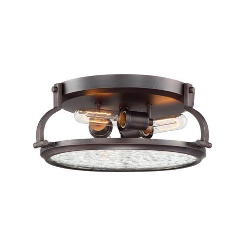 Eaton Satin Copper Bronze Three-Light Flush Mount