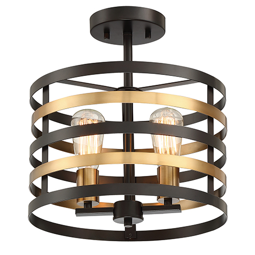 Mya Antique Bronze Two-Light Semi-Flush
